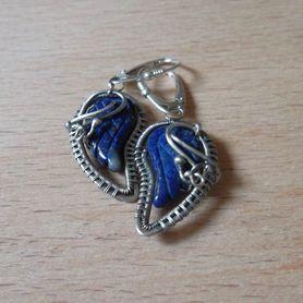 Kolczyki skrzydełka z lapis lazuli