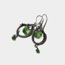 Kolczyki z kryształkami swarovskiego zielone