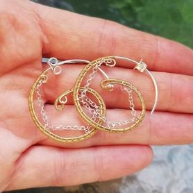 Kolczyki koła: srebro-złoto