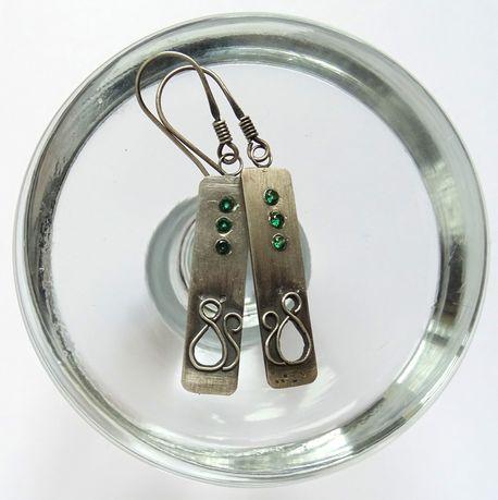 Srebrne kolczyki z cyrkoniami i kotem (1)