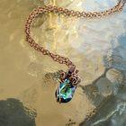 Naszyjnik miedziany z niebieskim kryształkiem swarovskiego (2)