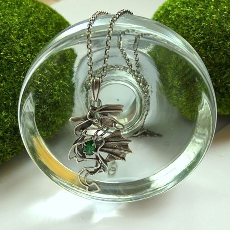 Srebrny naszyjnik smok z cyrkonią (1)